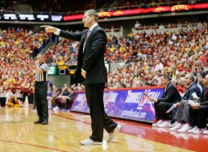 ISU Men's Head Basketball Coach Fred Hoiberg sports tennis shoes in support of Coaches vs. Cancer during Saturday's game in Hilton Coliseum. Iowa State defeated #22 Kansas State, 81-75.
