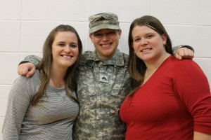 Amanda, Rachel and Val. A sister picture at Rachel's deployment ceremony for Kosovo in November 2014.