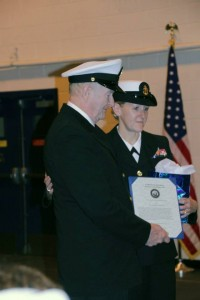 Amy (Corey) Eberling's father also retired from the U.S. Marines as a Chief Petty Officer. She and her father are pictured her at her retirement ceremony.