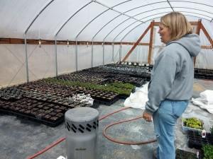 Nicole in greenhouse