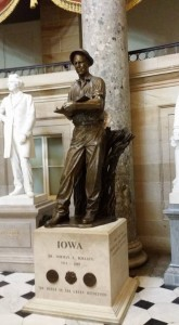 "Larry Sailer says it's fitting that during his visit last week to D.C. he got to see this likeness of Norman Borlaug in the U.S. Capitol's Statuary Hall. Dr. Borlaug is widely called ""the father of the Green Revolution"" because of his work to increase food production and combat world hunger."