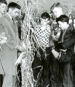My Grandpa Les Ausen teaching students about corn production.