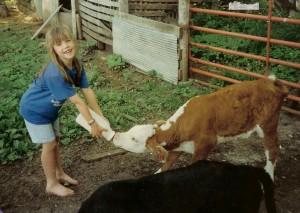 Laura Age 5 Bottle Feeding Triplets on Larson Farms