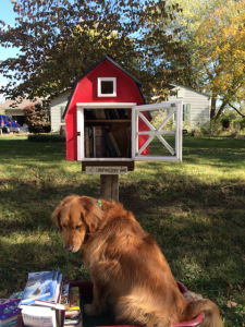 "Pam's best girl, Lucy, helped her do a little ""fall cleaning"" in the little library."
