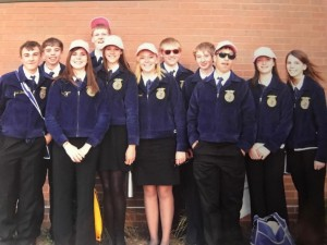 Delaney pictured with the Columbus FFA Chapter at National FFA Convention.