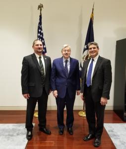 Tim Bardole (left) Ambassador Branstad, Lindsay Greiner 2019 China Trade Mission