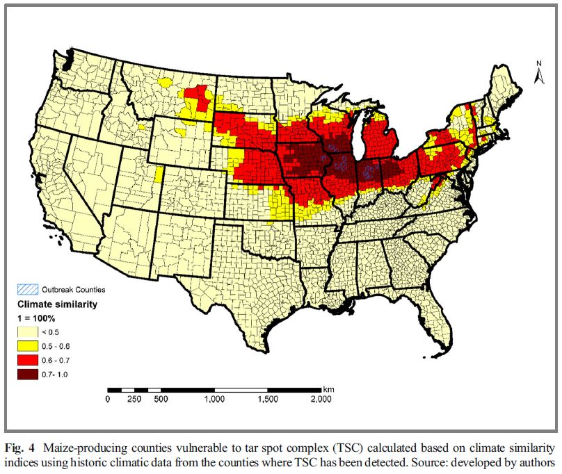 "Pictured above is vulnerable areas in the Midwest for Tar Spot. ""Threats of Tar Spot Complex disease of maize in the United States of America and its global consequences"" (Mottaleb et al. 2018)."